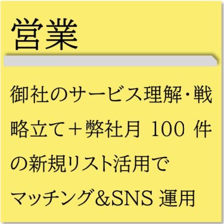 御社のサービス理解・戦略立て+弊社月100件の新規リスト活用でマッチング&SNS運用